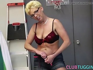 busty mature jerking after stripping