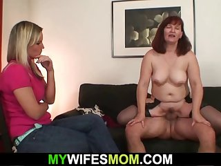 she allow her old redhead mother riding his cock