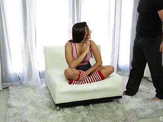 karlee grey wearing red and white leggings and fucking hard