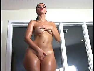 oiled up lady teases