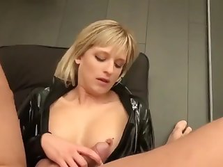 blonde slut fucked in black latex catsuit and facial
