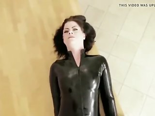 thin slut ass fucked in black latex catsuit and facial