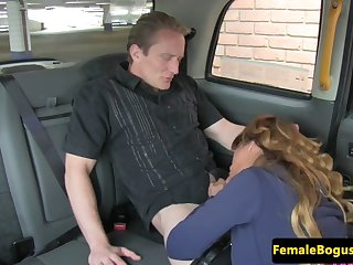 curvy british taxi babe rides passengers cock
